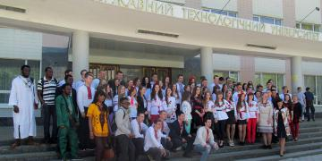 Graduation of foreign students, holiday group photos